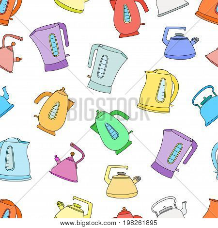 Vector seamless pattern with cups of tea and teapots. Perfect for wallpapers, pattern fills, web page backgrounds, surface textures, textile, wrapping papers.