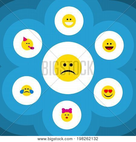 Flat Icon Expression Set Of Cold Sweat, Grin, Sad And Other Vector Objects