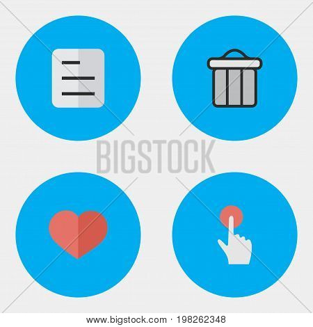 Elements Trashcan, Heart, Document And Other Synonyms Red, Junk And Bin.  Vector Illustration Set Of Simple UI Icons.