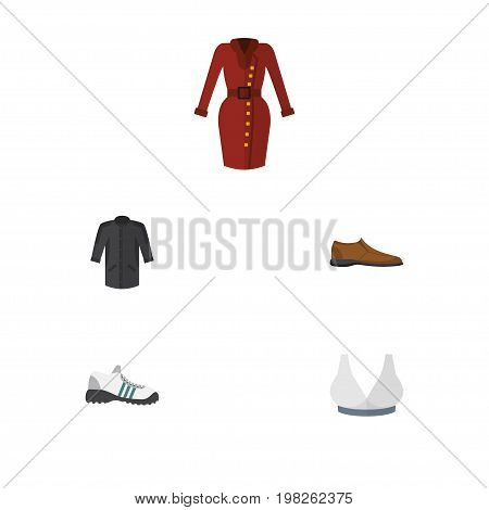 Flat Icon Garment Set Of Clothes, Sneakers, Uniform And Other Vector Objects