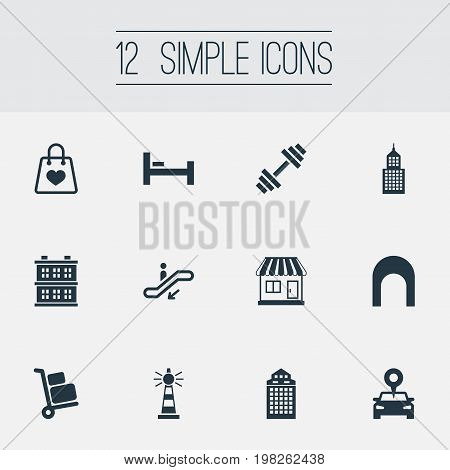 Elements Station, Corporation, Bed And Other Synonyms Luggage, Office And Train.  Vector Illustration Set Of Simple Infrastructure Icons.