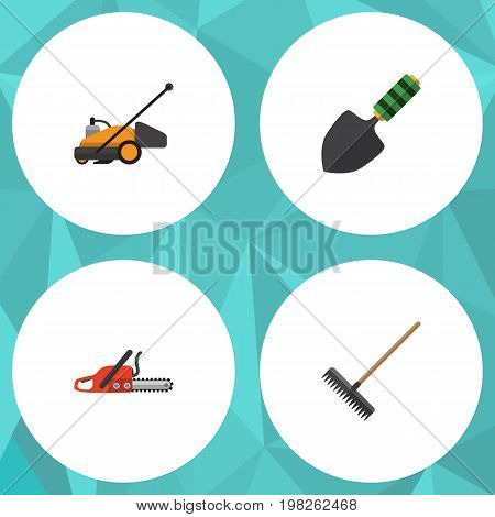 Flat Icon Farm Set Of Trowel, Hacksaw, Harrow And Other Vector Objects