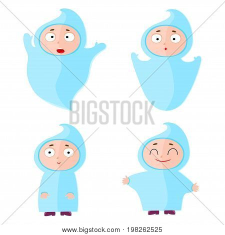Children with halloween costumes - ghost. Cheerful children figures isolated on white.