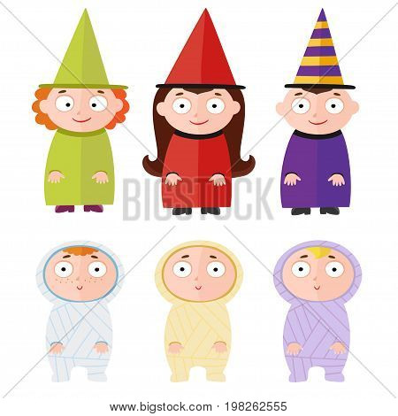 Children with halloween costumes - witch, mummy. Cheerful children figures isolated on white.