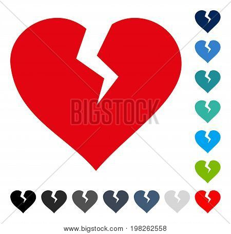 Heart Break icon. Vector illustration style is a flat iconic symbol in some color versions.