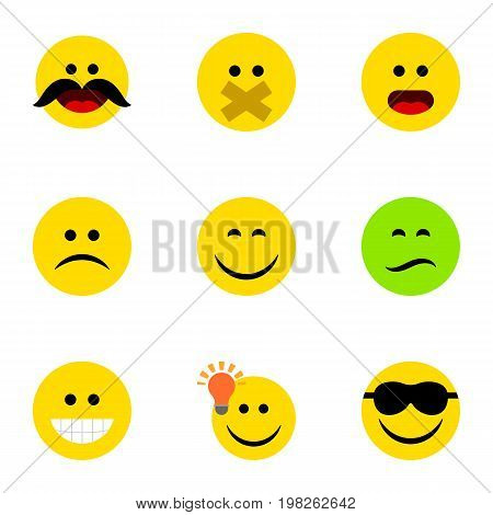 Flat Icon Face Set Of Have An Good Opinion, Frown, Wonder And Other Vector Objects