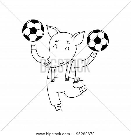 Vector cheerful pig with balls. Cartoon happy soccer player isolated on white