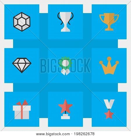 Elements Trophy, Present, Diamond And Other Synonyms Diamond, Star And Brilliant.  Vector Illustration Set Of Simple Trophy Icons.