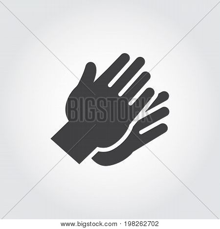 Two hands clapping in flat style. Graphic black icon - symbol of applause, praise, greeting. Gesturing human wrist logo on a gray background. Vector illustration