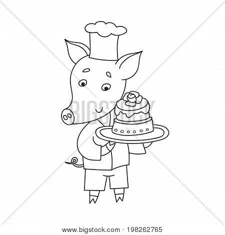 Vector cheerful pig with sweet cake. Cartoon happy confectioner isolated on white