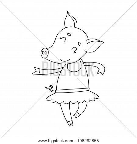 Vector cheerful pig ballerinae. Cartoon happy dancer pig isolated on white