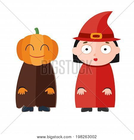 Vector illustration of cute kids wearing halloween costumes: pumpkin and witch.