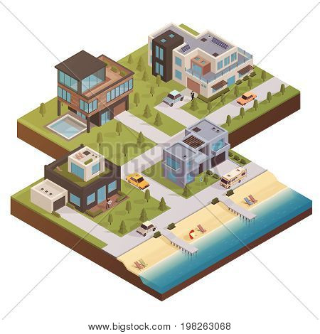 Isometric house concept with private residence neighborhood country estate buildings yards with trees cars and people vector illustration