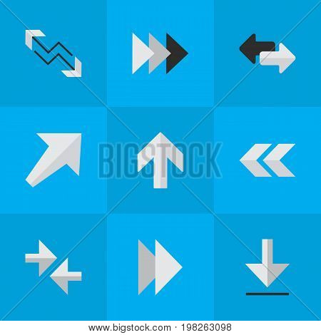 Elements Arrow, Onward, Forward And Other Synonyms Back, Boom And Southwest.  Vector Illustration Set Of Simple Pointer Icons.