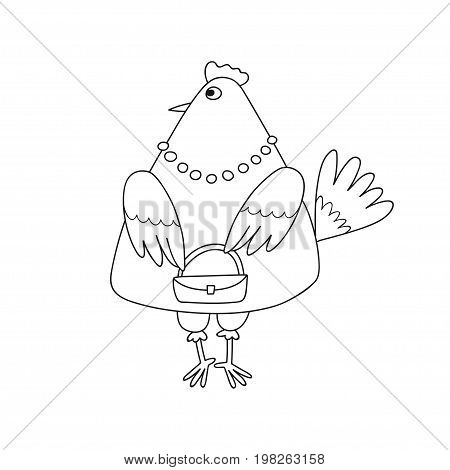 Vector illustration of cartoon fashionable chicken with little bag isolated on white