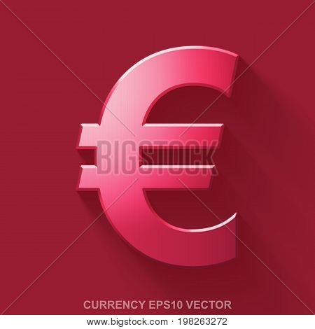 Flat metallic currency 3D icon. Red Glossy Metal Euro icon with transparent shadow on Red background. EPS 10, vector illustration.