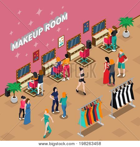 Makeup room fashion industry with models and stylists clothing on racks and interior elements isometric vector illustration