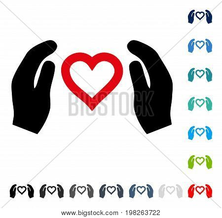 Love Care Hands icon. Vector illustration style is a flat iconic symbol in some color versions.