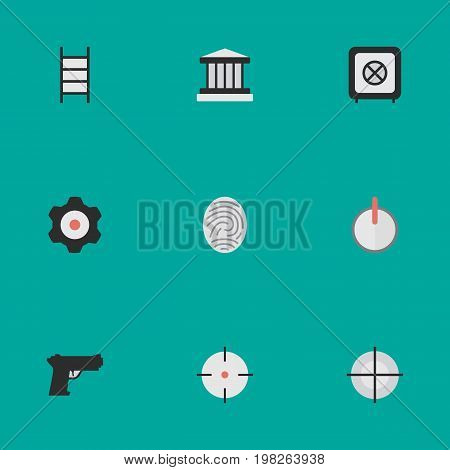 Elements Stairs, Cogwheel, Vault And Other Synonyms Bioskyner, Save And Safe.  Vector Illustration Set Of Simple Offense Icons.
