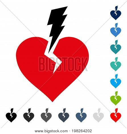 Love Heart Crash icon. Vector illustration style is a flat iconic symbol in some color versions.