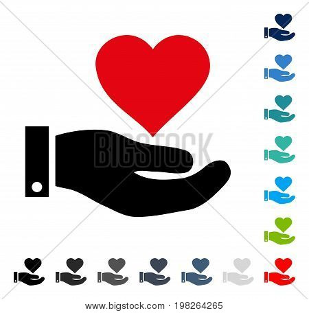 Love Heart Offer Hand icon. Vector illustration style is a flat iconic symbol in some color versions.