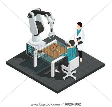 Realistic artificial intelligence isometric colored composition with robot against human vector illustration