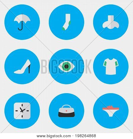 Elements View, Sock, Smell And Other Synonyms View, Shoe And Footwear.  Vector Illustration Set Of Simple Accessories Icons.