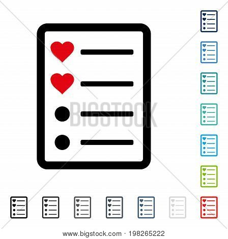Love List Page icon. Vector illustration style is a flat iconic symbol in some color versions.