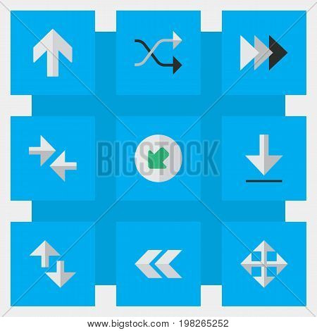 Elements Export, Back, Loading And Other Synonyms Download, Resize And Rearward.  Vector Illustration Set Of Simple Pointer Icons.