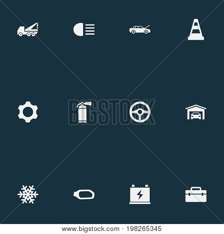 Elements Accumulator, Sprinkler, Snowflake And Other Synonyms Antifreeze, Accumulator And Spare.  Vector Illustration Set Of Simple Automobile Icons.