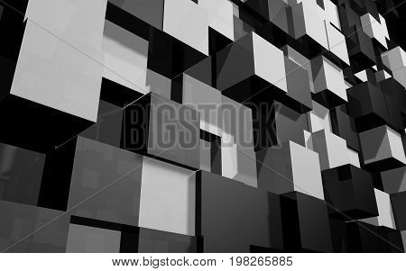 Abstract beautiful creative background of black and grey extended and dented cubes wall at angle from bottom to top with reflections for desktop site banner backdrop. 3d Render