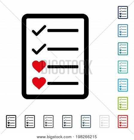 Lovely List Page icon. Vector illustration style is a flat iconic symbol in some color versions.