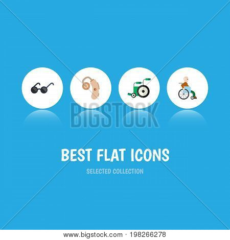 Flat Icon Handicapped Set Of Spectacles, Handicapped Man, Audiology Vector Objects