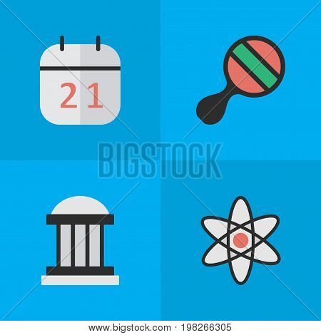 Elements Molecule, University, Date Block And Other Synonyms Pong, Nuclear And Ping.  Vector Illustration Set Of Simple Knowledge Icons.
