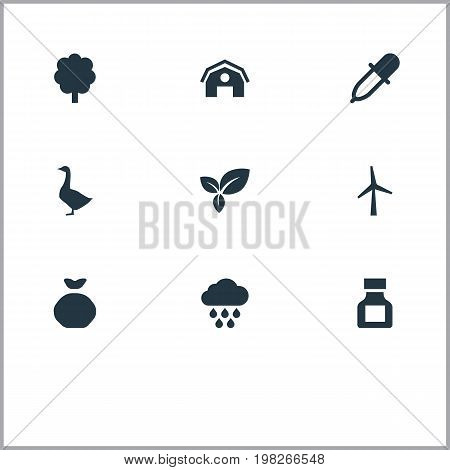 Elements Pesticide, Turbine, Hangar And Other Synonyms Turbine, Holdall And Bird.  Vector Illustration Set Of Simple Agriculture Icons.