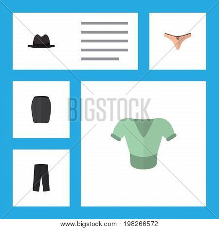 Flat Icon Dress Set Of Pants, Lingerie, Casual And Other Vector Objects