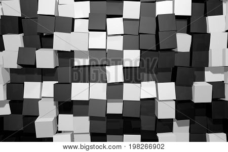 Abstract beautiful creative background of black and white extended and dented random rotated cubes wall with reflections for desktop site banner backdrop. 3d Render Illustration