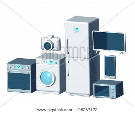 Internet of things appliances 3d isolated on white