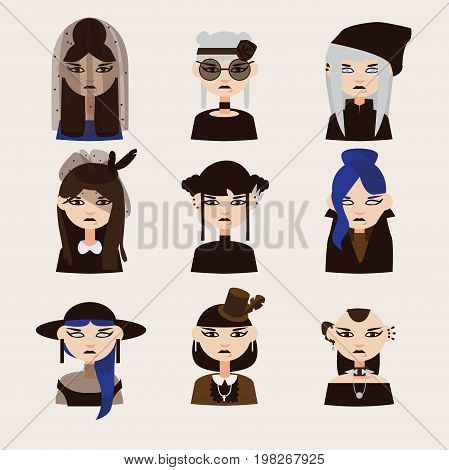 Vector set with gothic girls characters drawn with various hairstyle clothes and hats. Women portraits good for goth avatar
