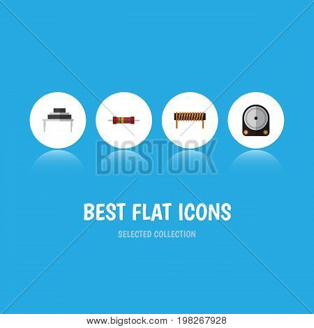 Flat Icon Electronics Set Of Bobbin, Destination, Hdd And Other Vector Objects