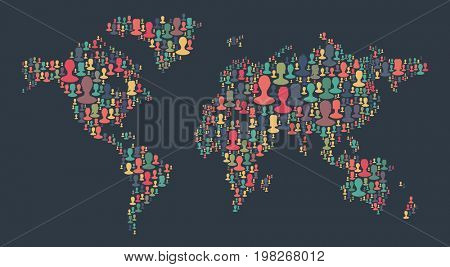 The map of the world made of plenty people silhouettes. Collection of different people portraits placed as world map shape. World map made out of large group of people silhouettes