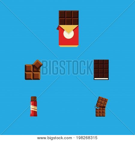 Flat Icon Bitter Set Of Cocoa, Dessert, Wrapper And Other Vector Objects