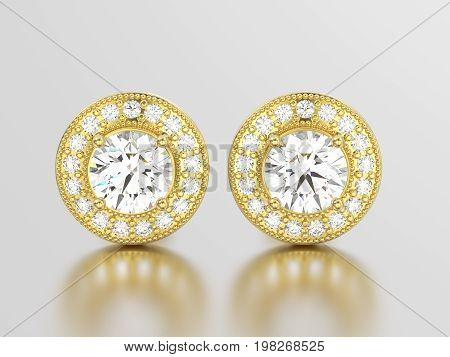 3D illustration two yellow gold diamonds screw post sterling earrings with reflection on a grey background