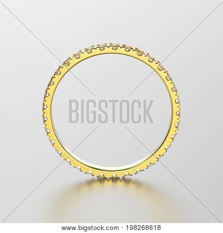 3D illustration yellow gold eternity band ring with diamond with reflection on a grey background