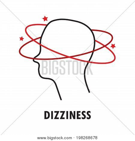 Dizziness. Logo or icon template in linear style isolated on white background. Eps10