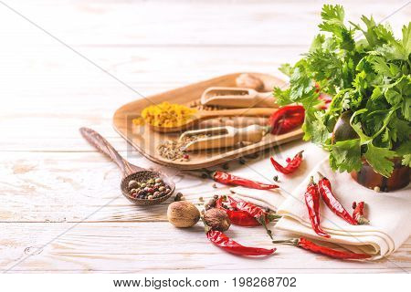 Indian Asian Spices And Cilantro. Copyspace. Horizontal View