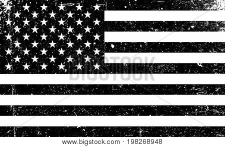Grunge monochrome United States of America flag. Black and white  raster illustration with grunge texture.