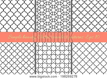 Set of geometric seamless patterns in Oriental style. Lattice quatrefoil tiles. Black on white easy to re-color. Moroccan arabic traditional geometric backgrounds.