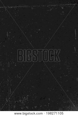 Black grunge background. Blank aged red paper background, vertical. A4 format, grunge textures in layers and can be edited.