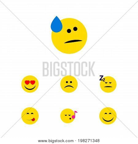 Flat Icon Emoji Set Of Tears, Smile, Asleep And Other Vector Objects